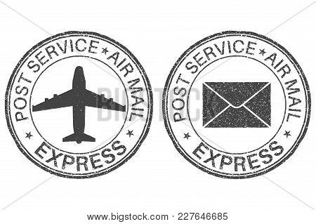 Post Service Express Postmarks With Airplane And Envelope Signs. Vector Illustration Isolated On Whi