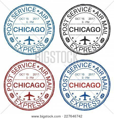 Chicago Postmarks. Set Of Colored Ink Stamps. Vector Illustration Isolated On White Background