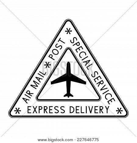 Air Mail Triangle Stamp. Black Postmark. Vector Illustration Isolated On White Background