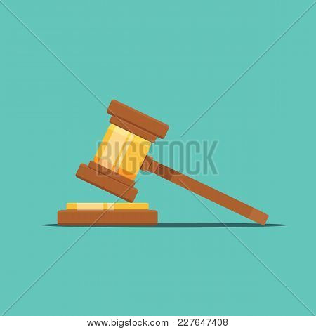 Gavel Judge Vector Illustration In A Flat Style. Gavel Icon Flat Isolated On A Colored Background. W