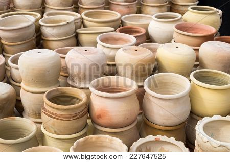 Background Of Ceramic Terracotta Pots For Sale At Greenhouse