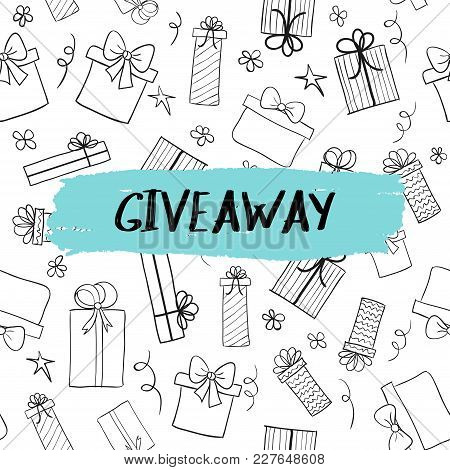 Vector Giveaway Card With Hand Drawn Gift Boxes Pattern