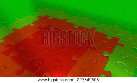 3d Illustration Of Some Green Puzzle Pieces On All Other The Floor Becoming Red Pieces