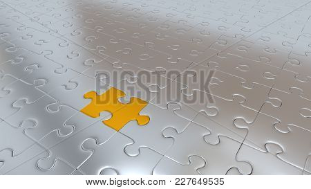 3d Illustration Of Just Only One Gold Puzzle Piece Inside All Other Silver Pieces
