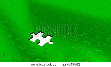 3d Illustration Of Only One Missing Puzzle Piece Into All Other Green Puzzle Pieces