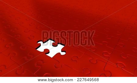 3d Illustration Of Only One Missing Puzzle Piece Into All Other Red Puzzle Pieces