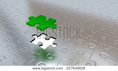 3d Illustration Of Only One Green Puzzle Piece Above All Other Silver Puzzle Pieces With One Missing