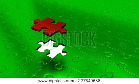3d Illustration Of Only One Red Puzzle Piece Above All Other Green Puzzle Pieces With One Missing Pi