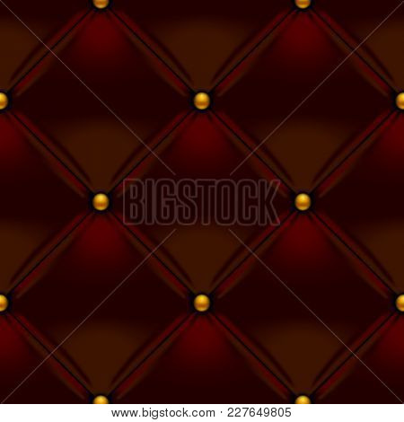 Brown button-tufted leather background. Brown upholstery seamless pattern