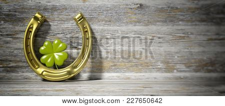 St Patrick's concept. Four leaf clover and golden horse shoe on wooden background, banner, space for text. 3d illustration