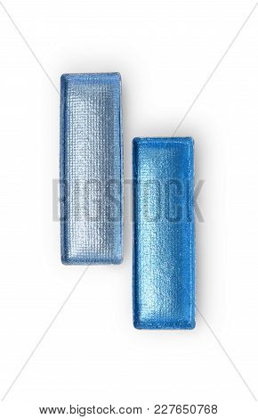 Rectangle Shiny Blue Eyeshadow For Makeup As Sample Of Cosmetic Product