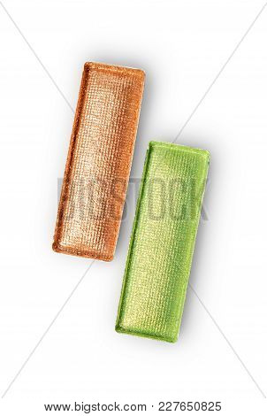 Rectangle Shiny Beige And Green Eyeshadow For Makeup As Sample Of Cosmetic Product