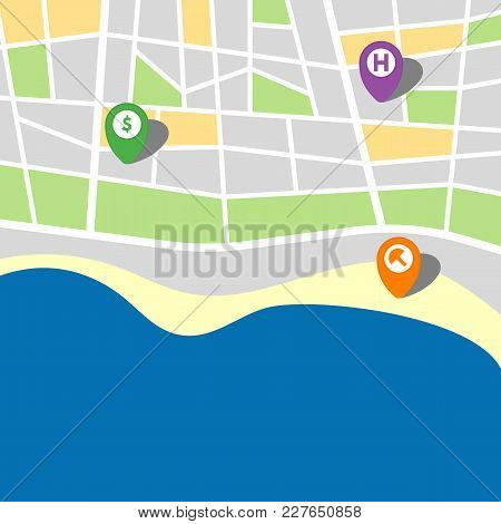 City Map Of An Imaginary City With Sea And Three Pins. Vector Illustration.