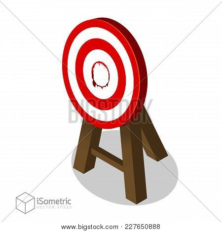 Breakthrough Target Goal, Business Concept Of Best Idea With A Big Hit Target Flat Vector Isometric