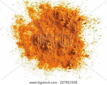 Turmeric (curcuma) Powder Over White