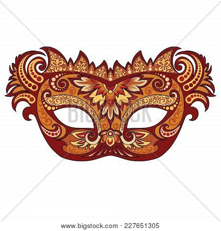 Vector Festive Golden Mask For Venetian Carnival And Festivals, Colorful Bright Masked Mask Mask Dec
