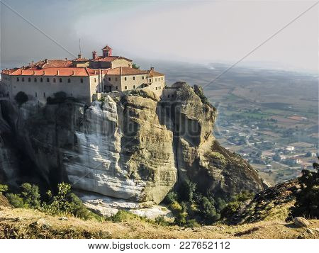 A Fantastic Landscape Of Meteora In Central Greece. The Photo Represents A Built Complex Of Eastern