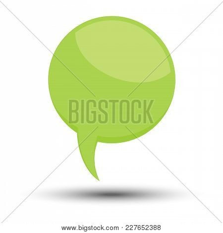 Green Cartoon Comic Balloon Speech Bubble Without Phrases And With Shadow. Vector Illustration.