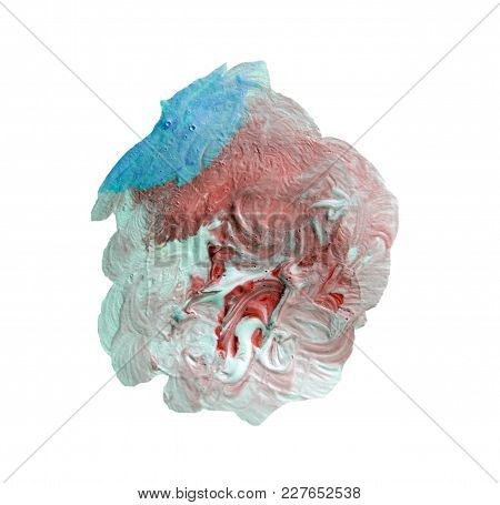 Abstract Acrylic Paint Stain Texture And Watercolor Splash. Hand Drawing Colorful Acrylic Splatter I