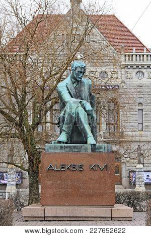 Helsinki, Finland - April 3, 2017: Statue Of The Finnish Author Aleksis Kivi In Helsinki, Finland