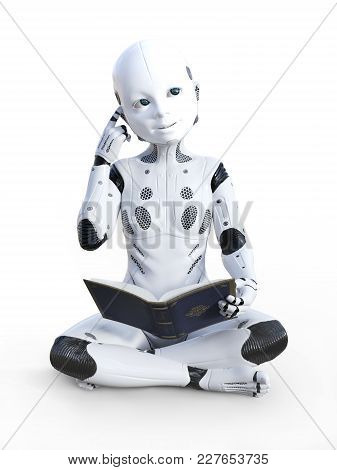 3d Rendering Of Robotic Child Sitting On The Floor, Reading A Book And Looking Like It Is Thinking A