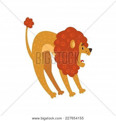 Cute Lion Cartoon Character Roaring Vector Illustration Isolated On A White Background.