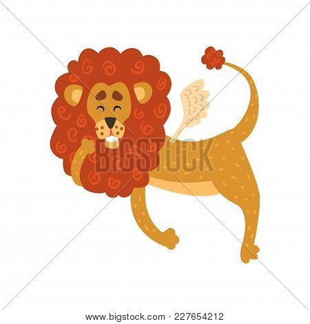 Cute Funny Lion Cartoon Character With Wings Vector Illustration Isolated On A White Background.