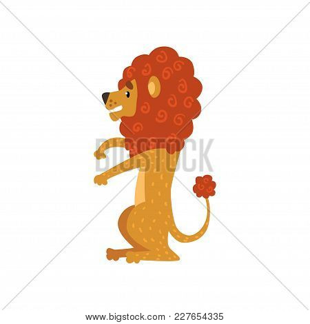 Cute Funny Lion Cartoon Character Sitting Vector Illustration Isolated On A White Background.