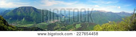 Spectacular Panorama With Vah River Valley With Few Villages, Velka Fatra And Mala Fatra Mountain Ra