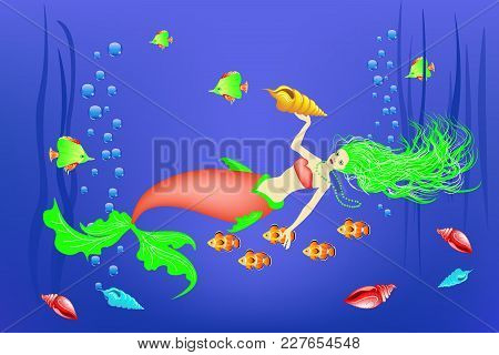 Underwater World, Little Mermaid, Fishes, Seashells Weed Vector Illustration