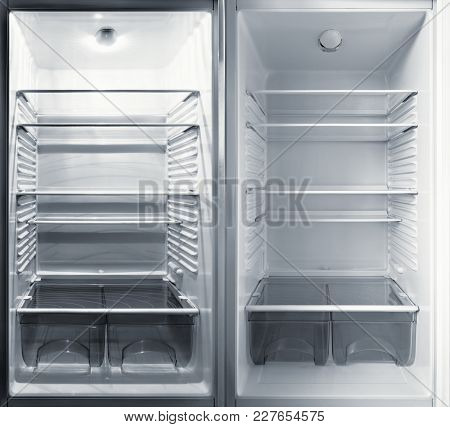View Of The Parts Inside Of The Refrigerators.