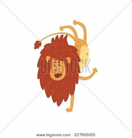 Cute Lion Cub Cartoon Character Doing Handstand Vector Illustration Isolated On A White Background.