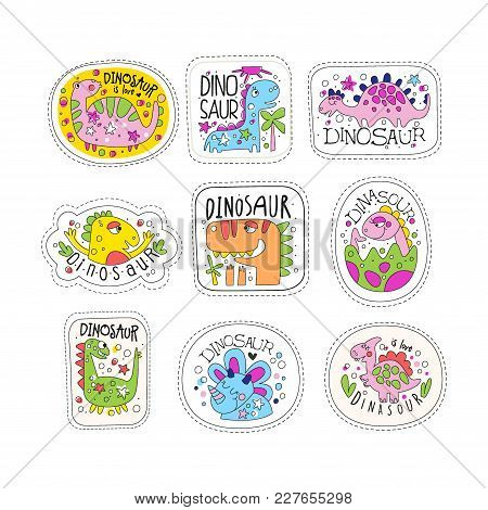 Cute Dinosaur Patches Set, Trendy Colorful Unicorn Stickers In Different Actions Vector Illustration