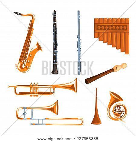 Musical Wind Instruments Set, Saxophone, Clarinet, Trumpet, Trombone, Tuba, Pan Flute Vector Illustr