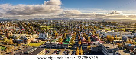 Panorama Of Reykjavik In Iceland Viewed From  The Top Of Hallgrimskirkja Church