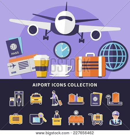 Flat Collection Of Various Airport Icons Isolated On Black Background And Flying Plane Vector Illust