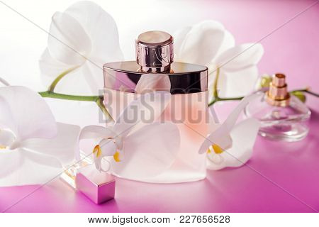 Bottles Of Perfume With White Orchid On Pink Background