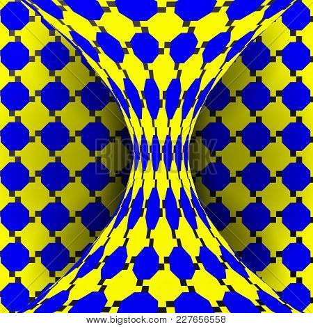 Illusion Vector. Optical 3d Art. Rotation Dynamic Optical Effect. Swirl Illusion. Delusion, Endless,