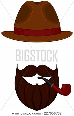 Icon Poster Man Father Dad Day Avatar Elements Set Hat Mustache Smoking Pipe Beard. Hipster Fashion