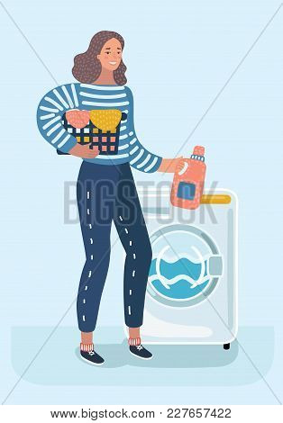 Vector Cartoon Illustration Of Woman Housewife Washes Clothes In The Washing Machine. Female Charact