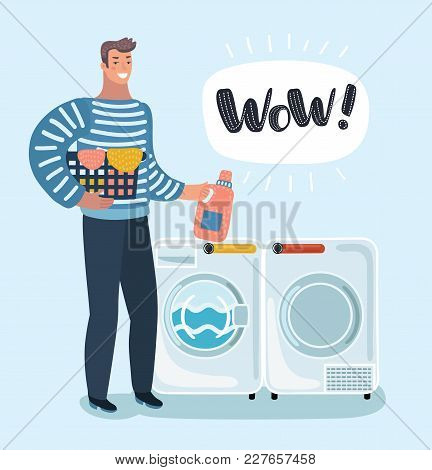 Vector Cartoon Illustration Of Young Character Holding A Laundry Basket. Washer And Dryer. Laundroma