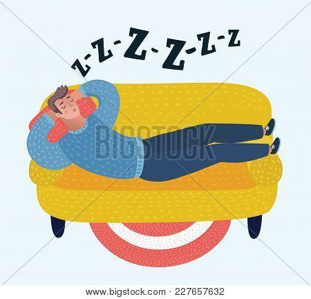 Vector Cartoon Man Sleeping On Sofa. Household Series Vector Illustration. Snoring, Snoring During S