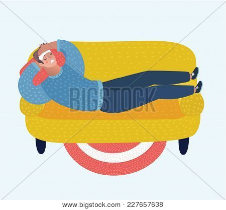 Vector Cartoon Illustration Of Cartoon Man Lying With A Compress On The Forehead On Sofa And Sufferi