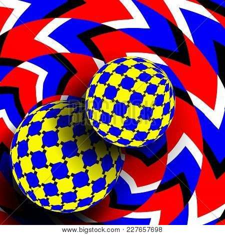 Illusion Vector. Optical 3d Art. Rotation Dynamic Optical Effect. Swirl Illusion. Movement Executed
