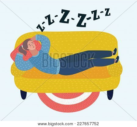 Vector Cartoon Illustration Of Woman Sleep On Sofa In Room. Dreaming Girl. Snoring, Snoring During S