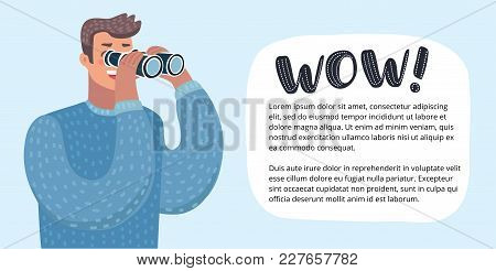 Vector Horizontal Banner With Funny Cute Colorful Funny Illustration Of Person Looking Through A Bin
