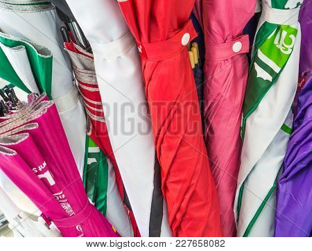 Many Colorful Umbrella In Cement Pots Service Customer Of Hotel