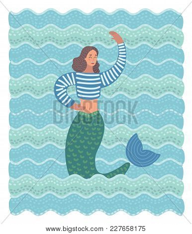 Vector Cartoon Funny Illustration Of Mermaid In The Waves. Beauty Mermaid In The Sea Waving By Her H