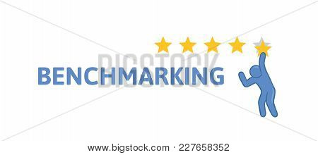 Man Appreciates The Service On A Five-point Scale. A Five Star Rating. Concept On The Topic Of Bench