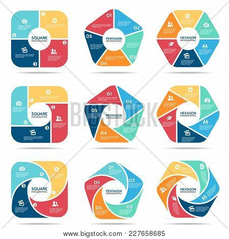 Square Pentagon And Hexagon Infographic (part Four, Part Five And Part Six) Vector Set Design